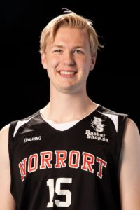Anders Gombrii Född: 1996 Center, 205 cm, 104 kg Moderklubb: KFUM Lidingö Basket Foto: Idrottsfoto